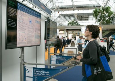 A delegate visiting the e-poster installation at Pain in Europe X